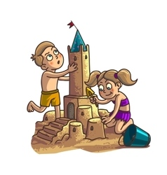 Summer fun sand castle cute cartoon little happy vector