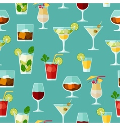 Alcohol drinks and cocktails seamless pattern in vector image