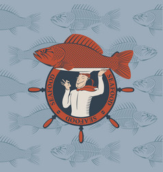 banner with cook and the fish on a tray vector image vector image