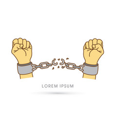 Broken handcuffs graphic vector