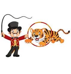 Cartoon tiger jumping through ring vector
