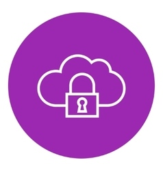 Cloud computing security line icon vector image vector image