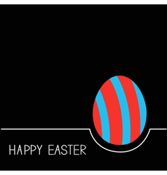 Colored Happy Easter egg White line Red blue on vector image vector image