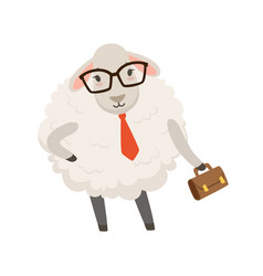 Cute businessman sheep character wearing glasses vector