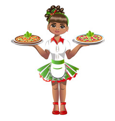 Cute waitress with pizza vector