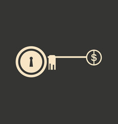 Flat in black white lock and key dollar vector