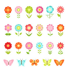 funny butterfly on flowers in garden vector image