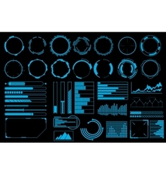 Futuristic user interface elements set vector image vector image