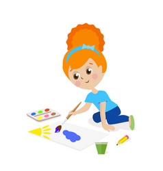 girl sitting on the floor and draw a picture vector image vector image