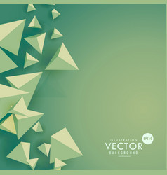 Green background with 3d triangle shapes vector