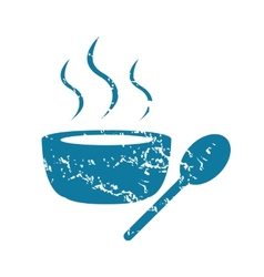 Grunge hot soup icon vector