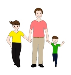Happy dad holding small and large arm sons vector