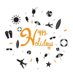 Happy holiday with summer icon vector image vector image