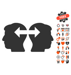 Heads exchange arrows icon with dating bonus vector