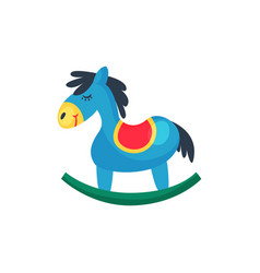 Icon of blue plastic rocking horse little pony vector