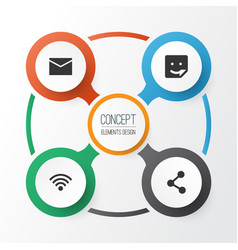 Internet icons set collection of wireless vector