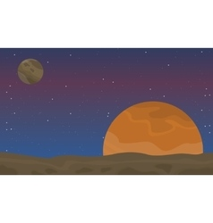Landscape of outer space with planet vector