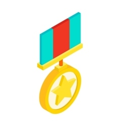 Medal with star isometric 3d icon vector