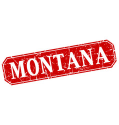 montana red square grunge retro style sign vector image vector image