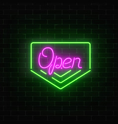 Neon open 24 hours sign board in geometric frame vector