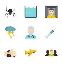 Phobia symbols icon set flat style vector