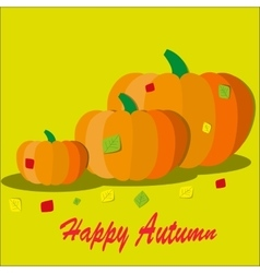 Pumpkin with colorful autumn vector