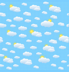 Seamless pattern with clouds and sun vector