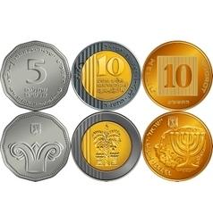 Set israeli silver money shekel coins vector