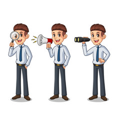 set of businessman in shirt looking for poses vector image