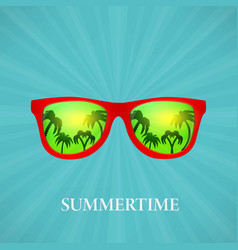 Summer glasses reflection of palms vector