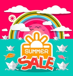 Summer Sale Title with Paper Boats in Ocean and vector image vector image