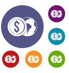 World planet and dollar coin icons set vector