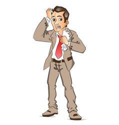 worried businessman vector image vector image