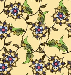 Yellow hand drawn floral seamless pattern vector