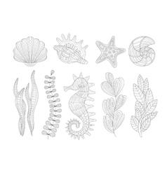 Underwater nature set adult zentangle coloring vector