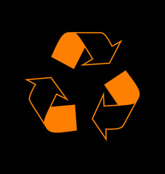 Recycle logo concept orange icon on black vector