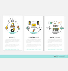 Dj music party linear business brochures vector