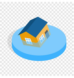 House sinking in a water isometric icon vector
