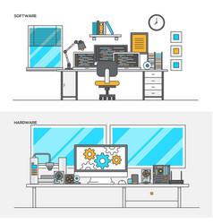 Flat line color concept- software and hardware vector
