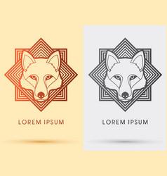 wolf fox head face vector image