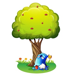 A poisoned blue monster under the tree vector