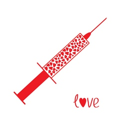 Medical syringe with red hearts inside love card vector