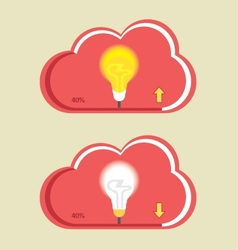 Cloud bulb download upload vector