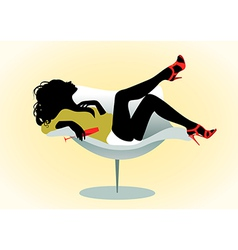Girl on chair with wineglass vector