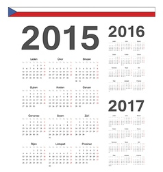 Czech simple calendars 2015 2016 2017 vector