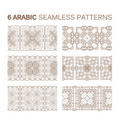 6 modern line traditional arabic pattern vector