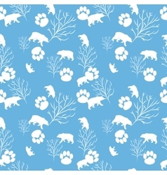 Forest bear and tree branch seamless pattern vector
