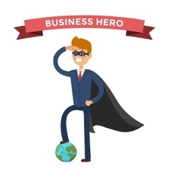 Superhero business man in action vector