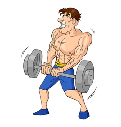 Caricature weightlifter vector
