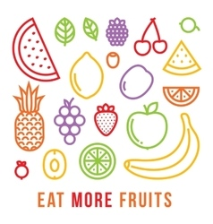 Eat more fruits motivational card vector